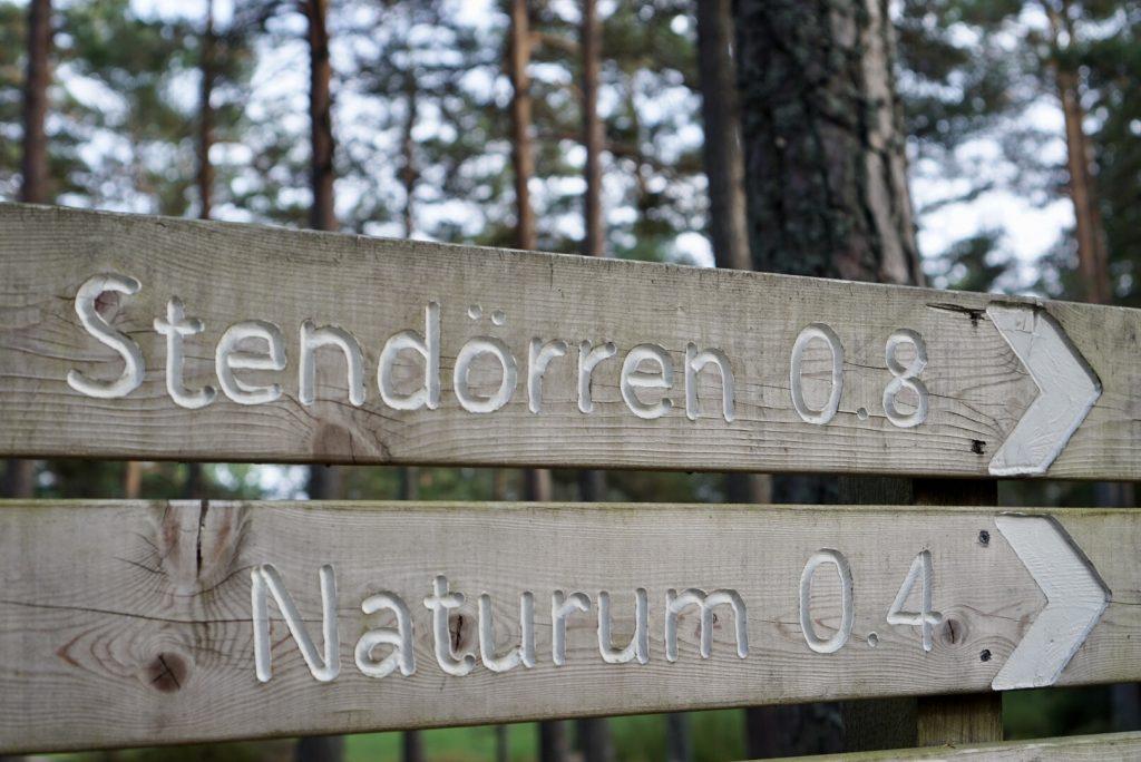 Skyltar mot Stendörren och Naturum.